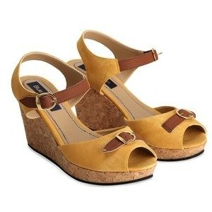 blue button women yellow & brown sandals