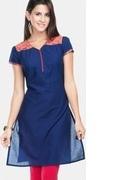 blue kurti with yoke styling