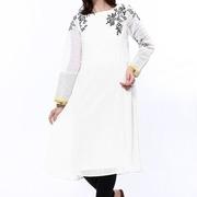 wishful by w women white embroidered anarkali kurta