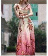 elegant beautiful rose printed long flowing gown