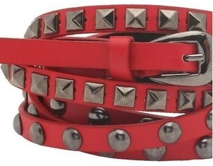 red studded double wrap waist belt