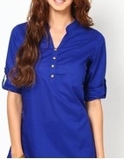 34th sleeve blue solid tunic