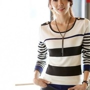 stylish long sleeves striped sweater blouse