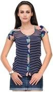 yepme joelley stripes top blue & white