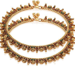gold plated meenakari anklet pair studded with cz stones
