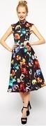 asos midi dress in poppy print with full skirt