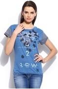 gas women blue printed tshirt