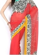 anouk coral red & offwhite georgette printed saree