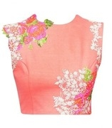 ridhi mehra peach crop top with pink and cream floral detailing