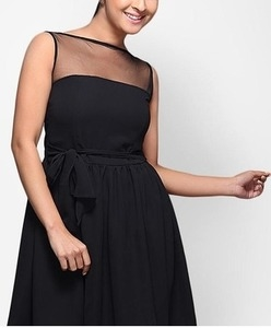 sleeve less black skater dress
