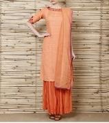 peach cotton suit with cotton silk sharara