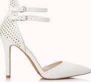 perforated faux leather dorsay pumps