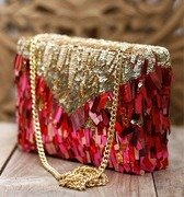 pink sequin & bead embellished box clutch