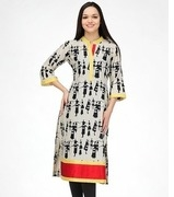 34th sleeve cream printed kurta