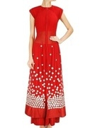 ridhi mehra red embroidered sheer pleated anarkali jacket with palazzo pants