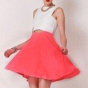 pink & white cut skater dress