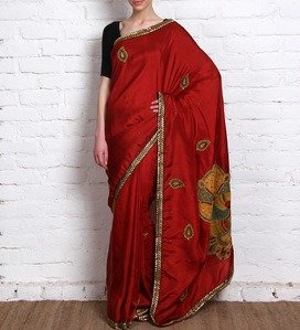 red pure silk saree with kalamkari applique