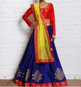 red and blue cotton silk & chanderi lehenga set