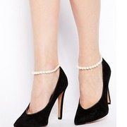 asos pack of two faux pearl anklets