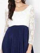 full sleeve blue skater dress