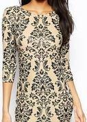tfnc bodycon dress with baroque sequin embellishment