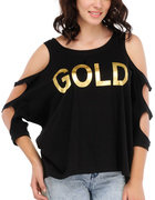 yepme gold printed top black