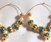 blue valvet golden flower cover hoops earrings