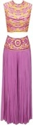 divani lilac resham and mirror embroidered blouse with palazzo pants