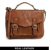 asos leather satchel bag with floral punch out