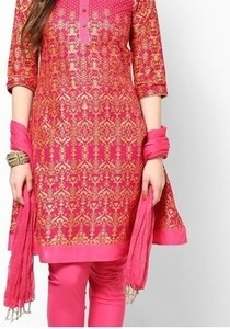 pink cotton printed suit set