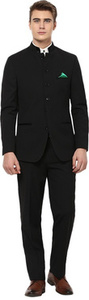 GIVO Black Bandhgala Party Solid Men's Suit