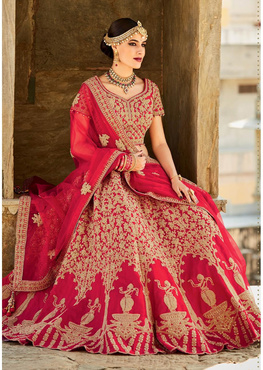 Outstanding Red Colored Embroidered Art Silk Bridal Lehenga Choli 408B