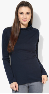 Style Quotient Navy Blue Solid Blouse