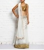 white embroidered net unstitched lehenga